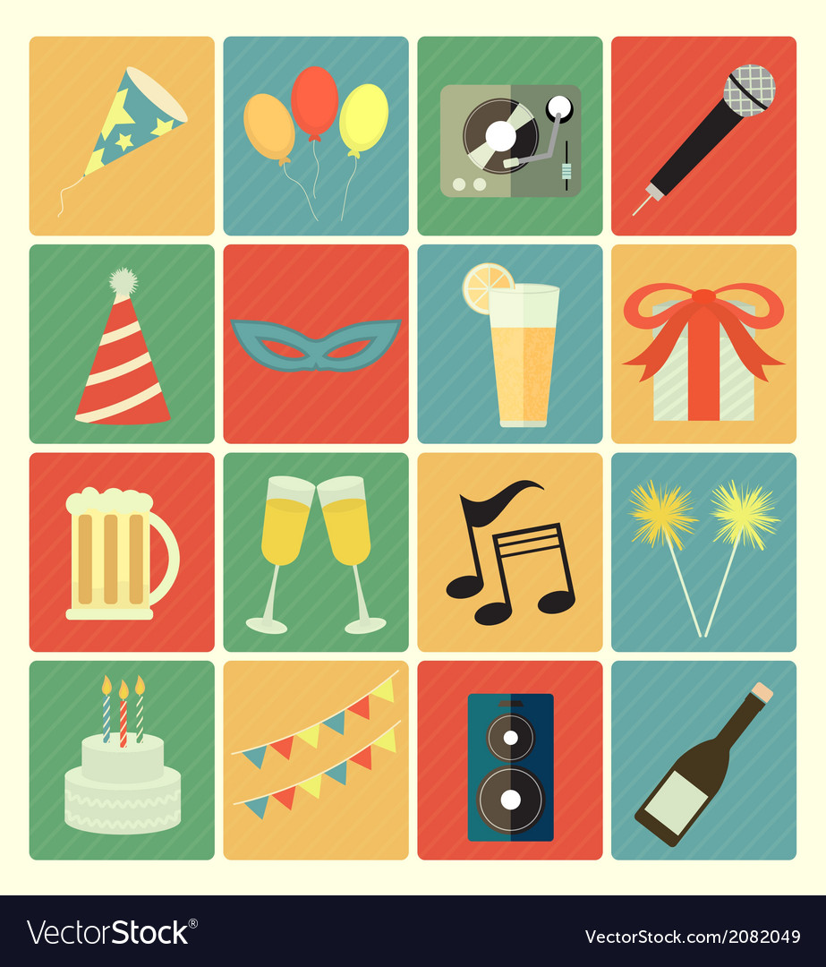 Flat icons party vector