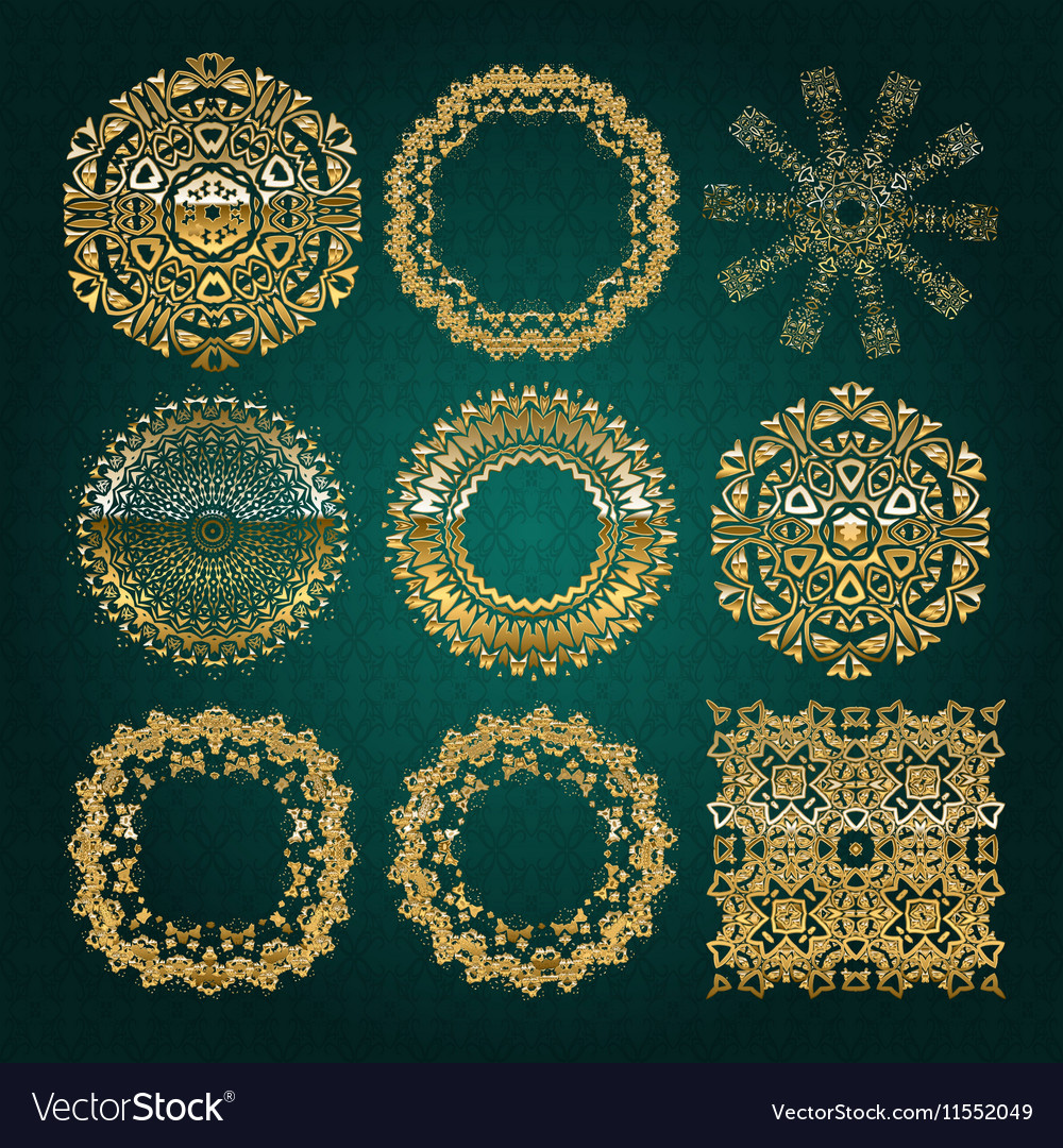 Gold mandala set turquoise version vector