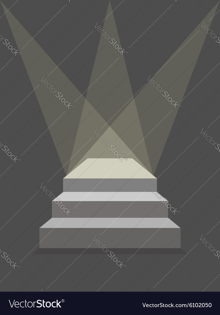 Podium with steps and lighting pedestal with three vector