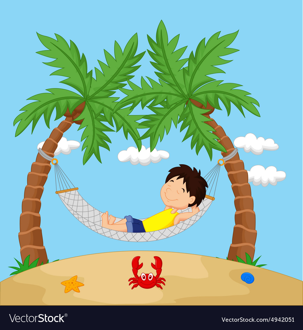 Boy relaxing in a hammock vector