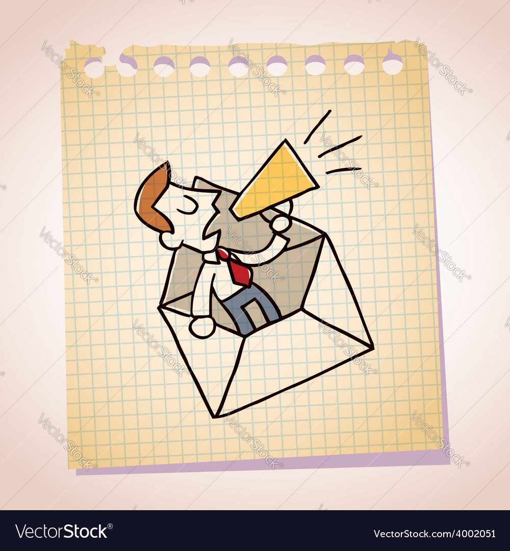 Businessman and loudhailer note paper cartoon vector