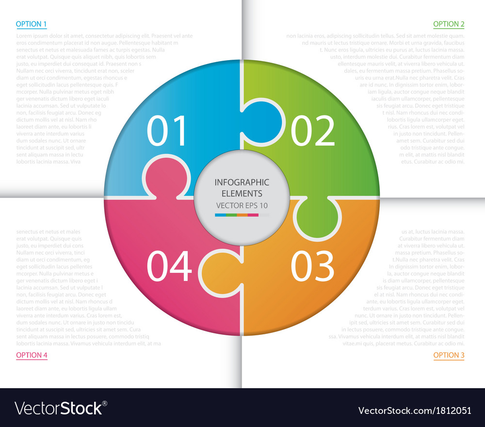 Circle puzzle infographic vector
