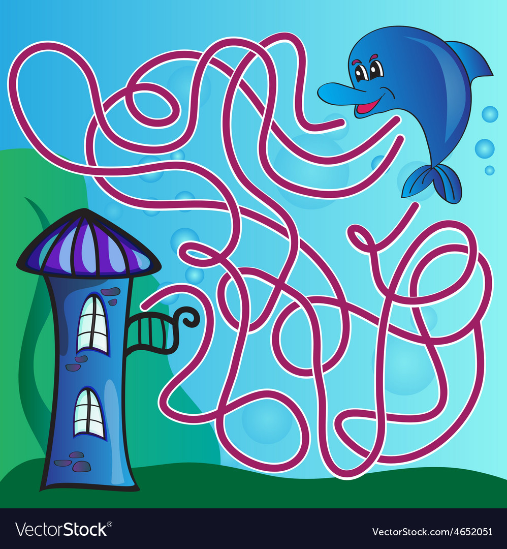 Puzzle for kids  the marine life vector