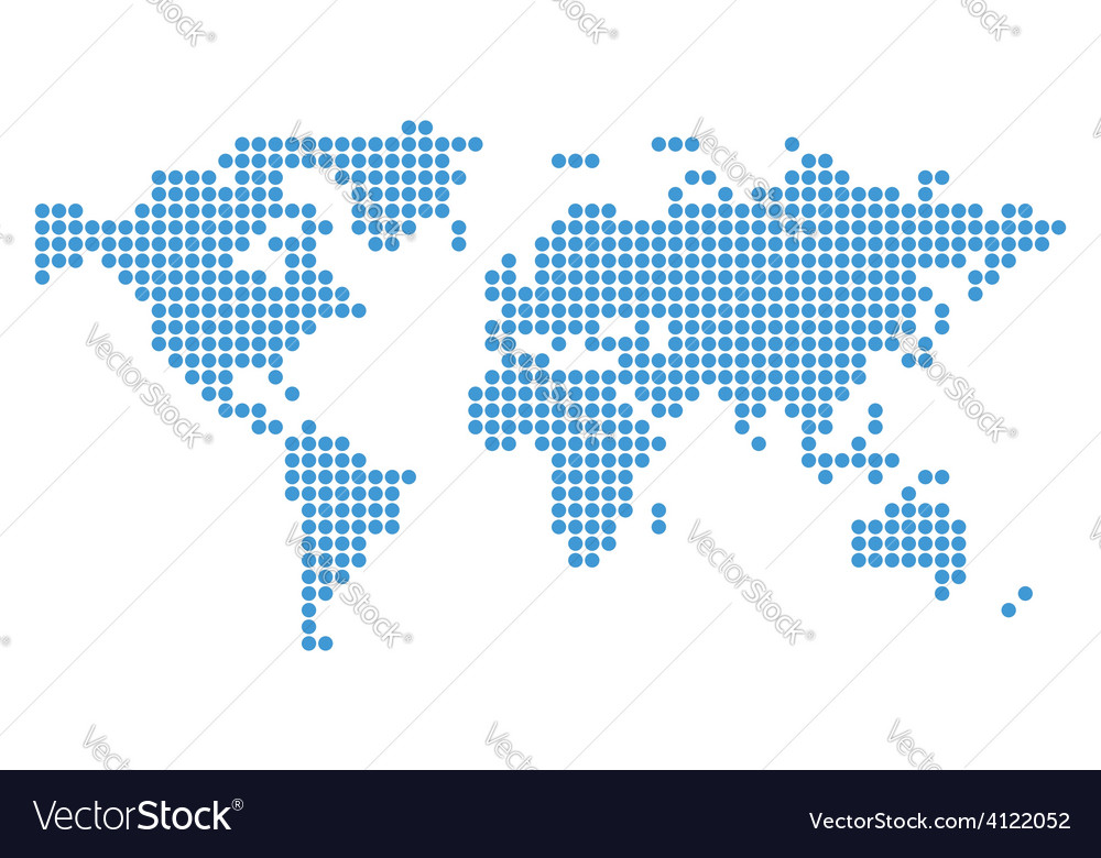 Abstract blue map of world with circles vector