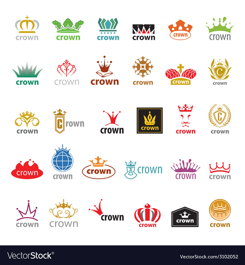 Biggest collection of logos crown vector