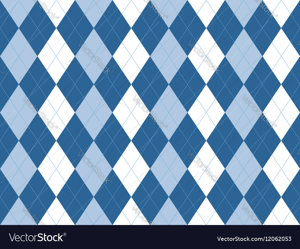 Blue white argyle seamless pattern vector