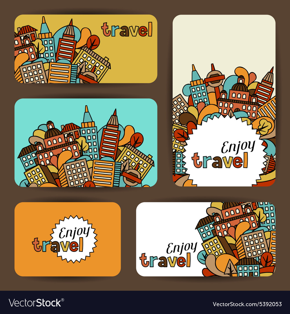 Town business cards with hand drawn houses vector
