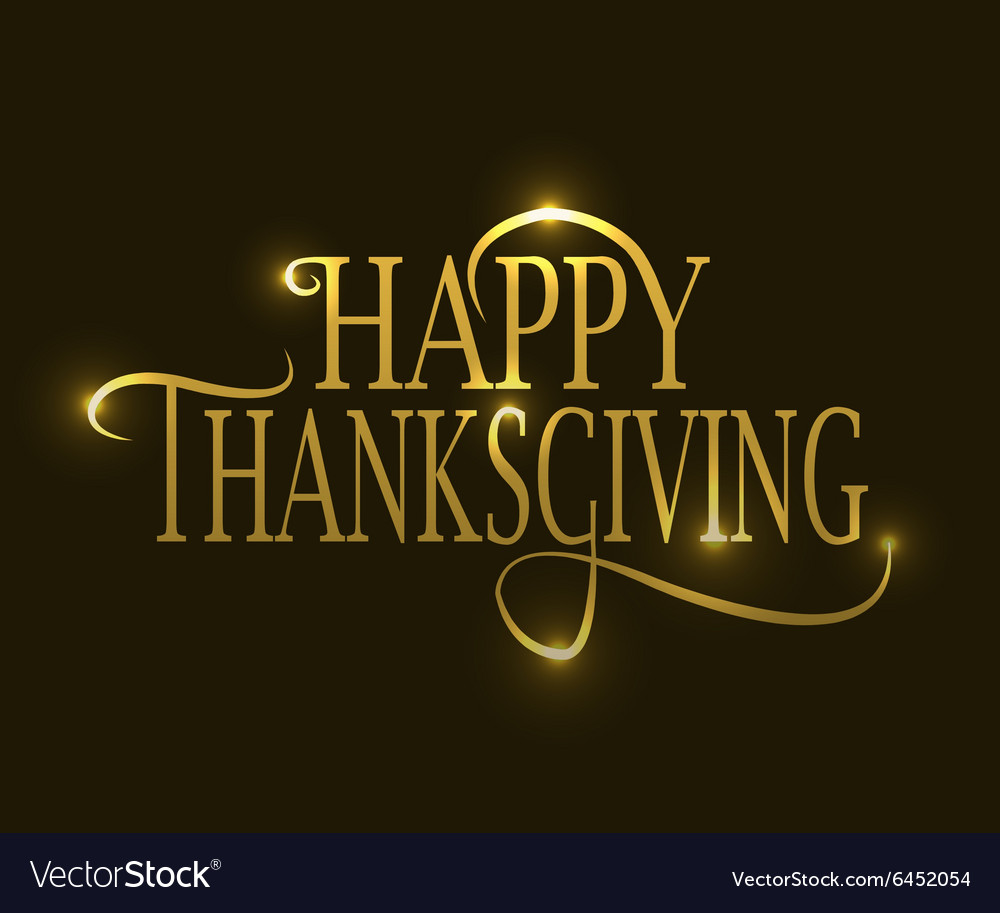 Happy thanksgiving day golden logotype badge and vector