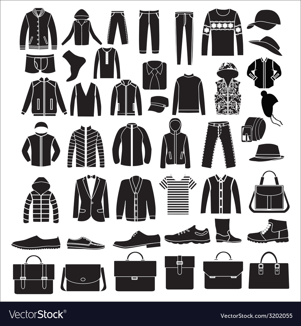 Mens fashion clothes and accessories  vector