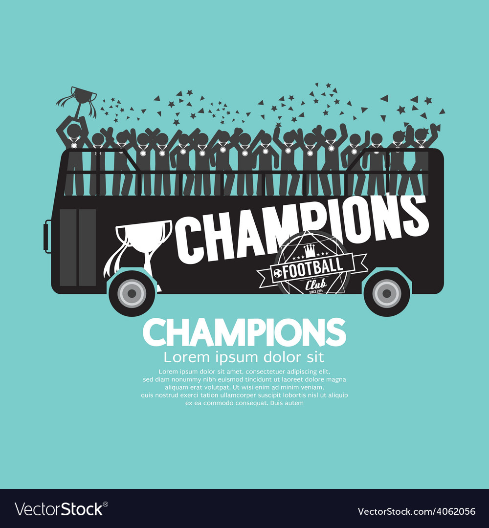 Football or soccer champions celebrate on bus vector