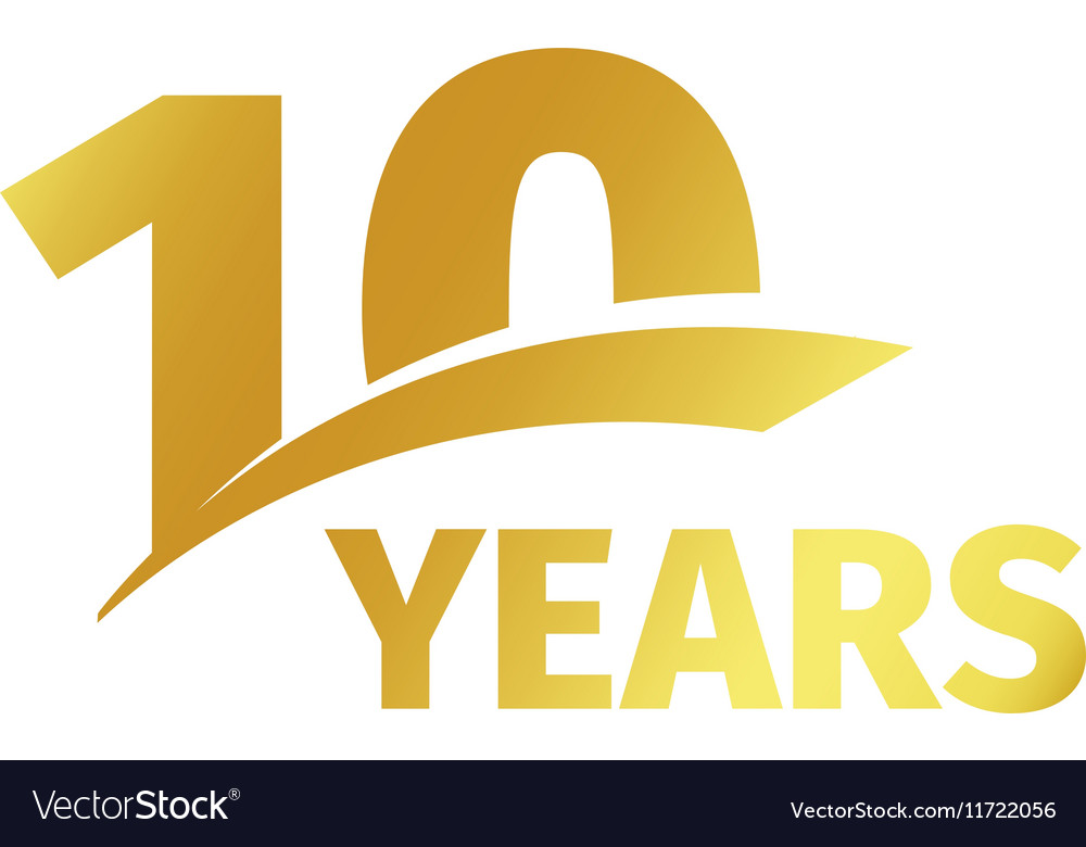 Isolated abstract golden 10th anniversary logo on vector