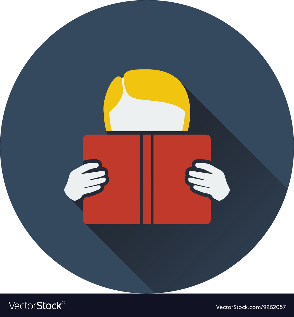 Flat design icon of boy reading book in ui colors vector