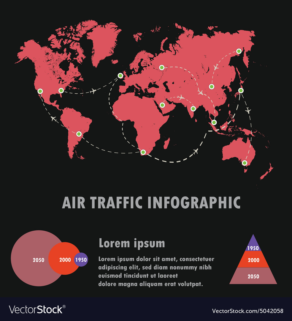 Airline traffic on world and infographicair vector