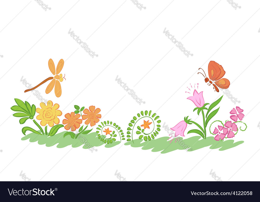 Summer nature flowers and plants vector