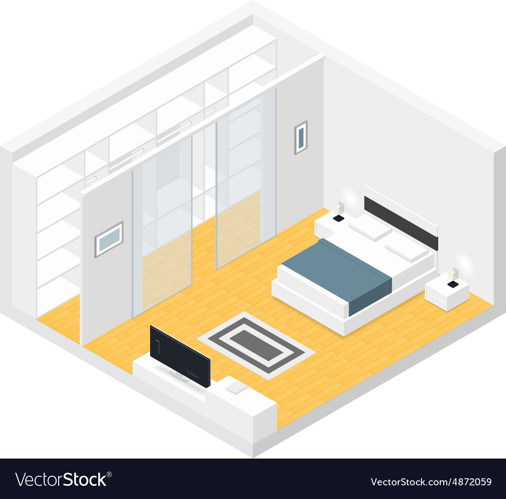 Bedroom isometric set vector