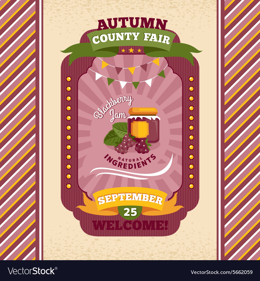 County fair vintage invitation card vector