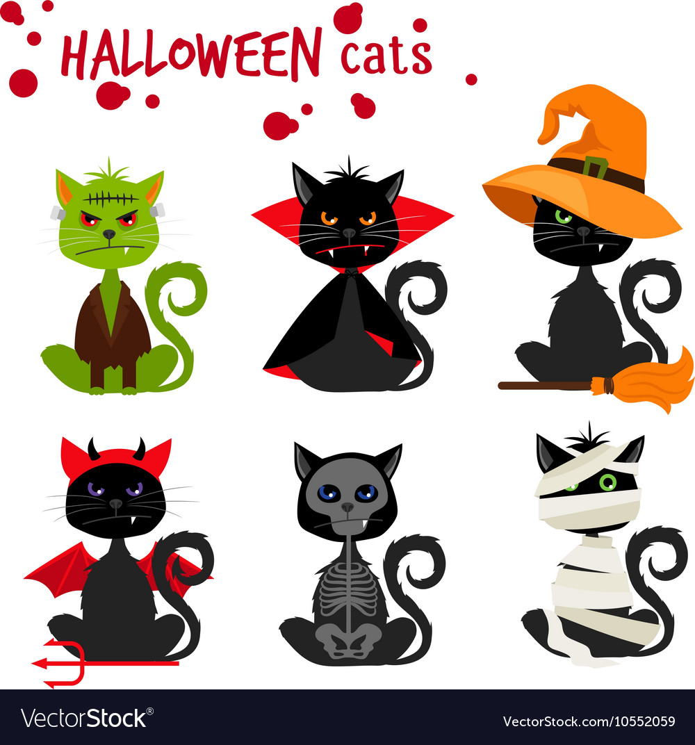 Halloween black cat fashion costume outfits vector