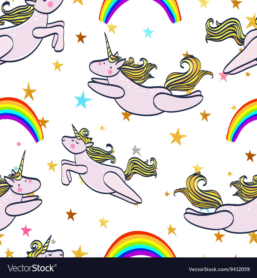 Seamless pattern with magic unicorn and rainbow vector