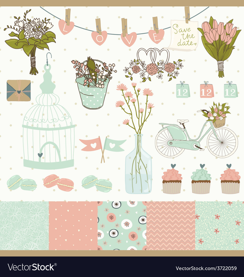 Set for wedding design vector