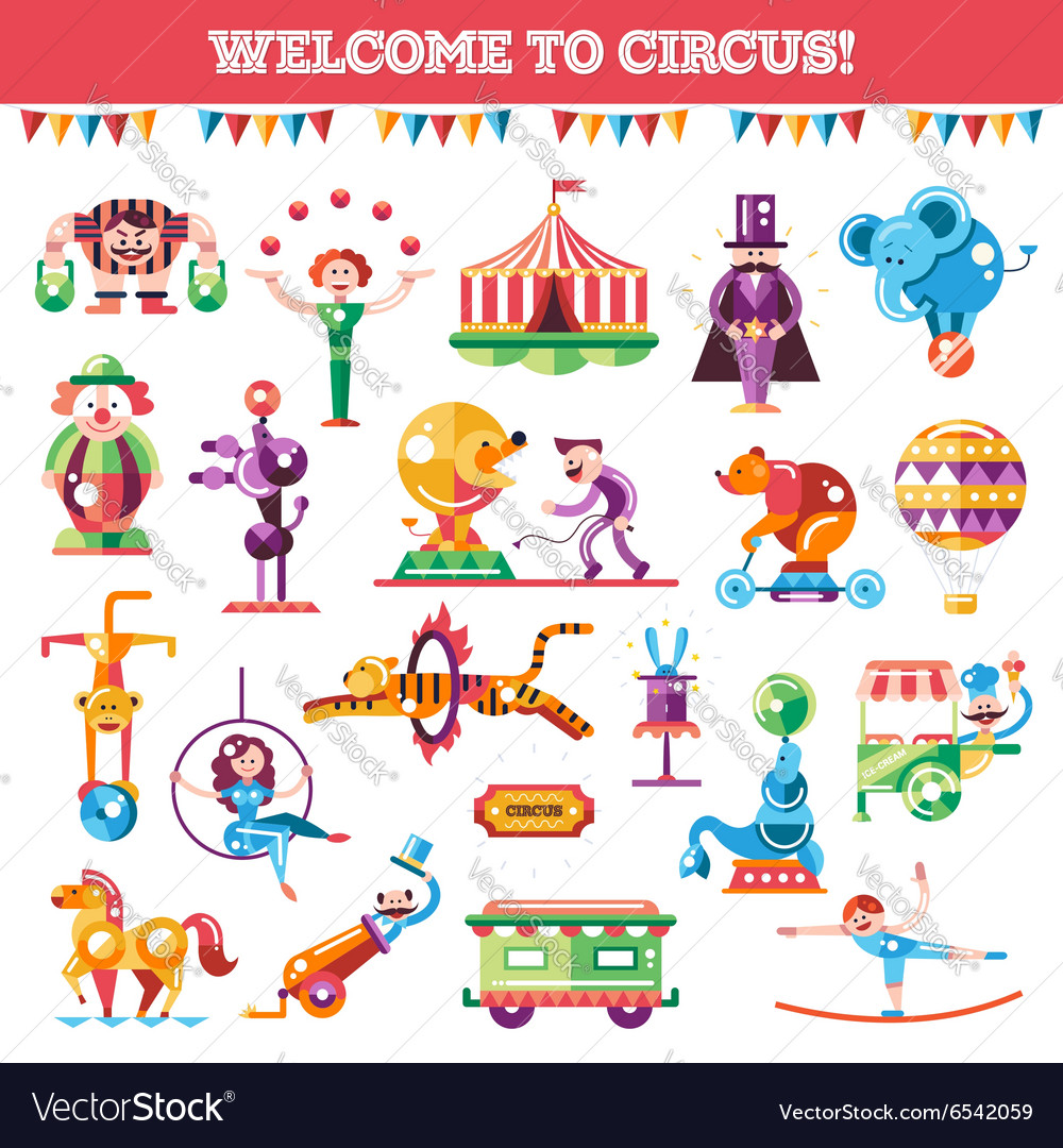 Set of modern flat design circus and carnival vector