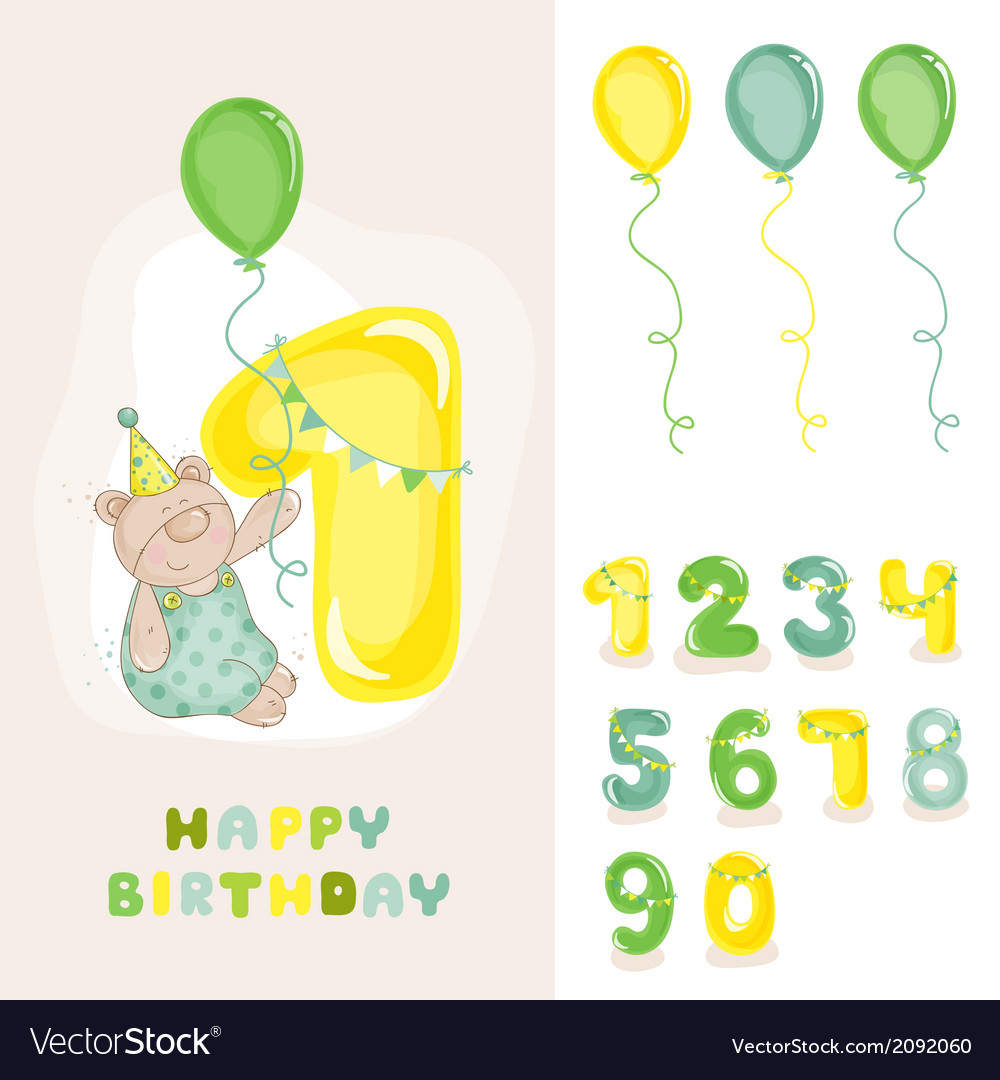Baby bear birthday card vector