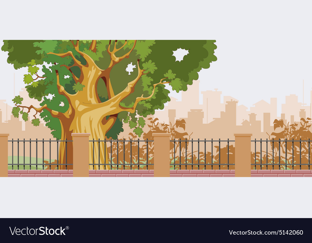 Cartoon big tree behind a fence in the park vector