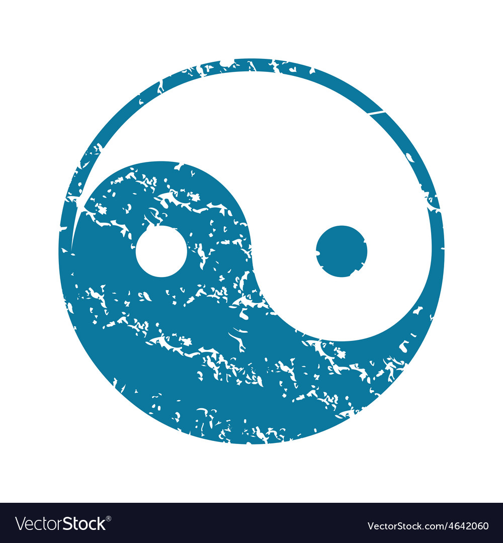 Grunge ying yang icon vector