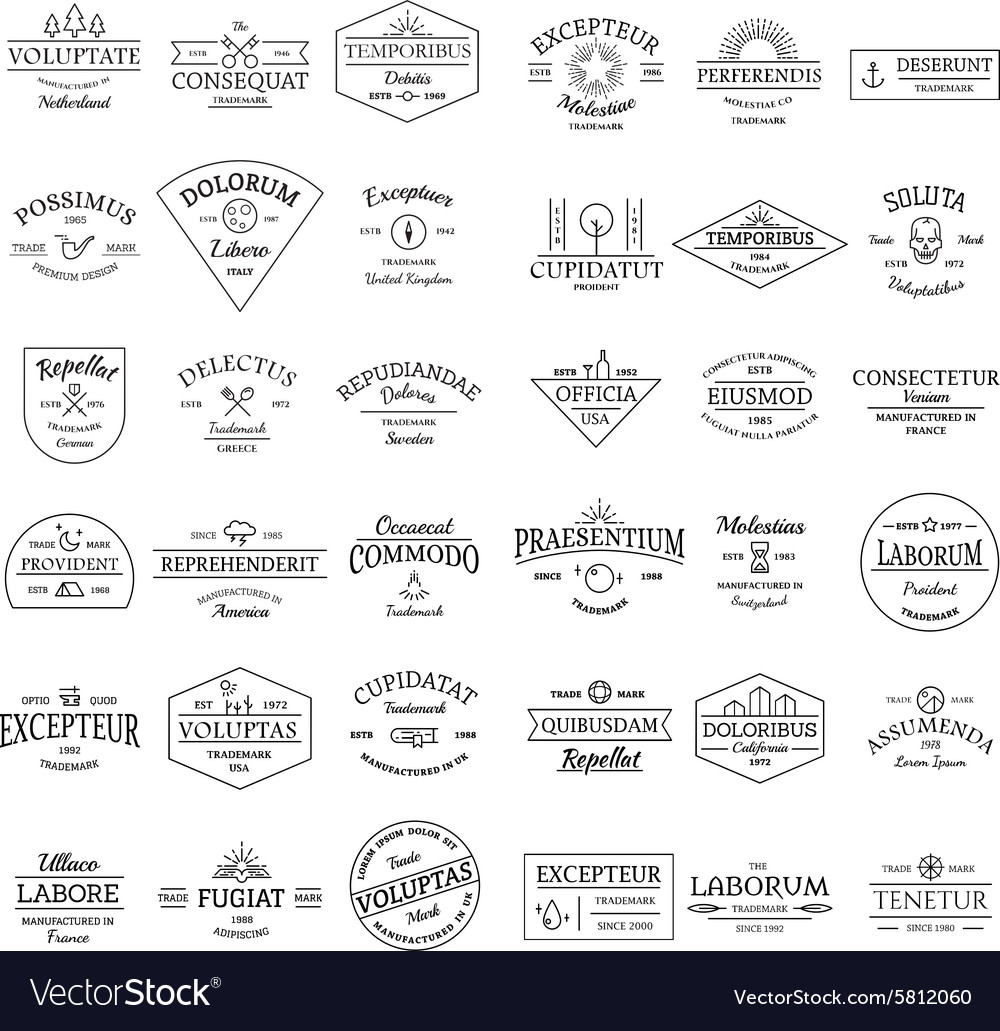 Vintage retro logo badges set vector