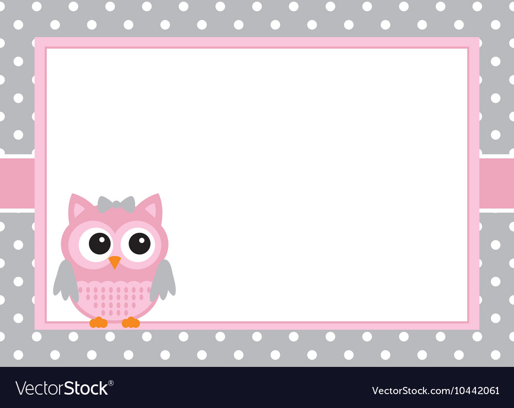 Baby girl owl card vector