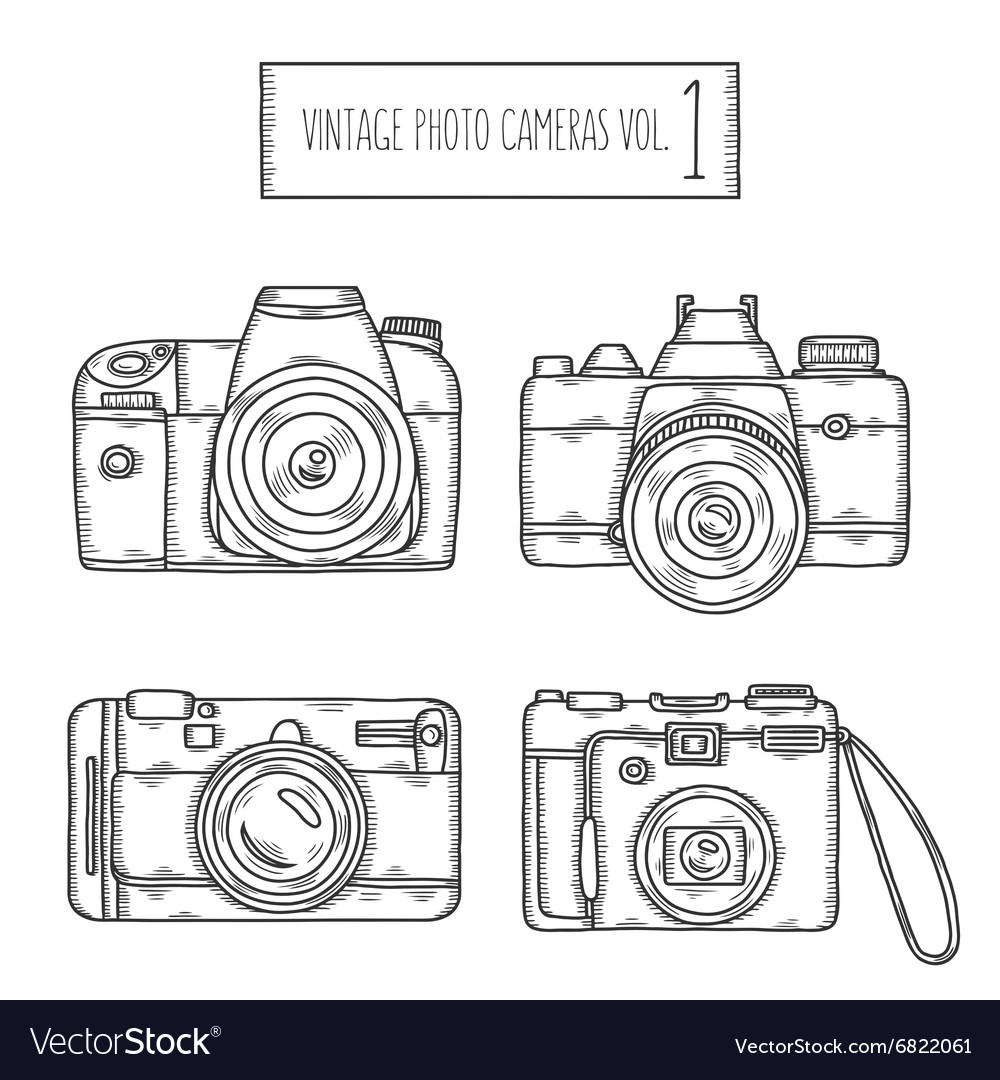 Hand drawn photo cameras set vintage vector