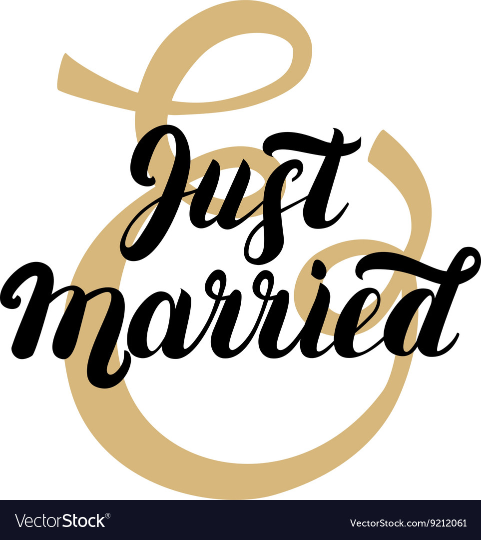 Just married hand written lettering with gold vector