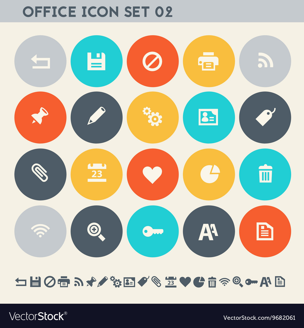 Office 2 icon set multicolored flat buttons vector