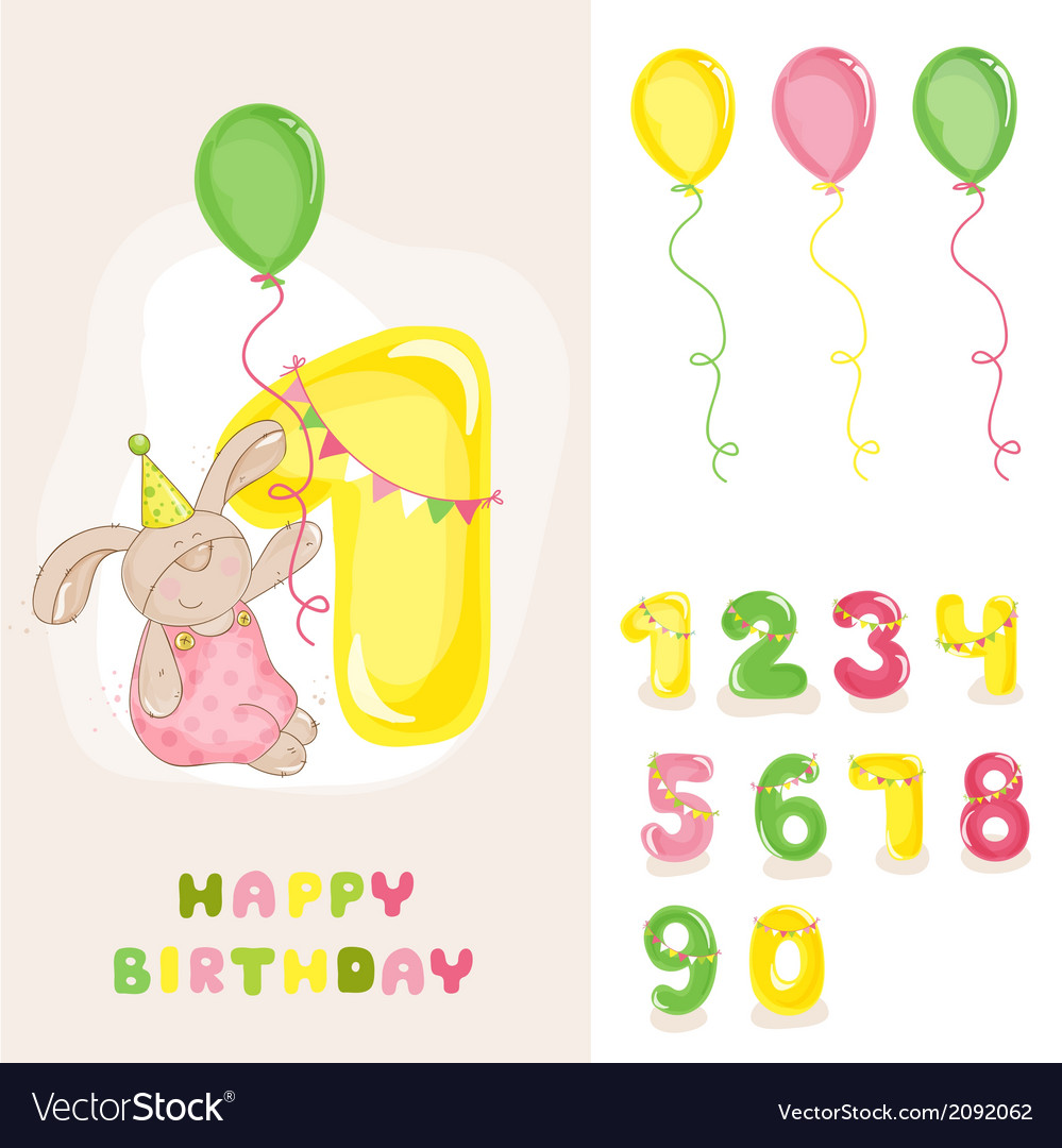 Baby bunny birthday card vector