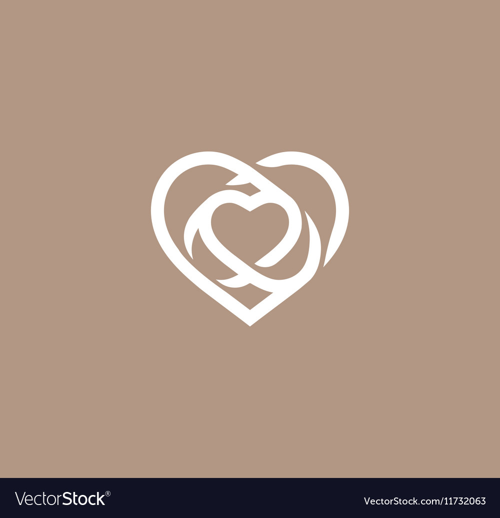 Isolated white abstract monoline heart logo love vector