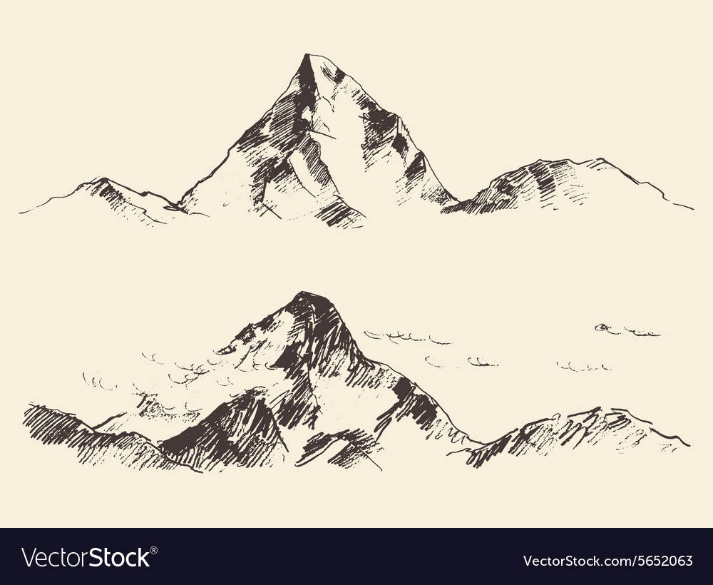 Mountains sketch contours engraving drawn vector