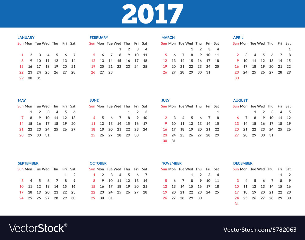 Simple calendar 2017 template vector