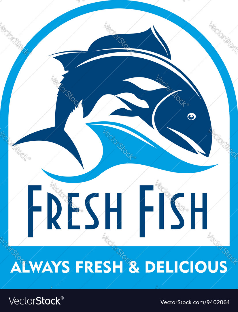 Blue badge of salmon in wave with text fresh fish vector