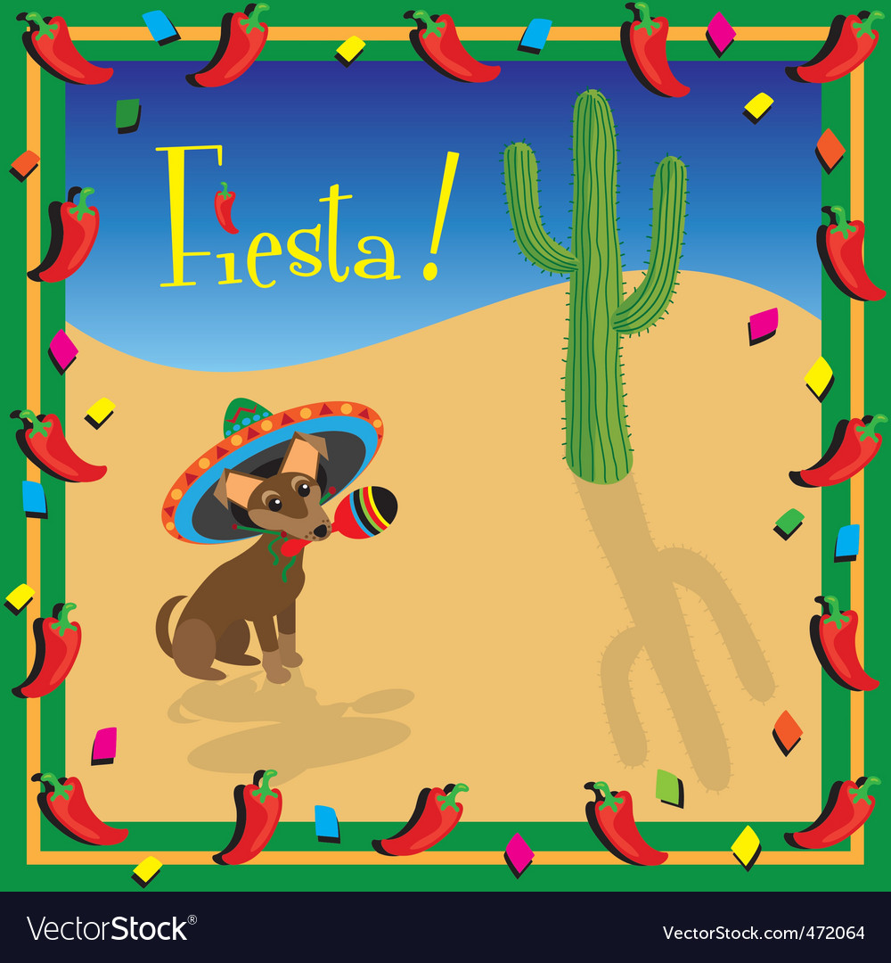 Chihuahua mexican fiesta party vector
