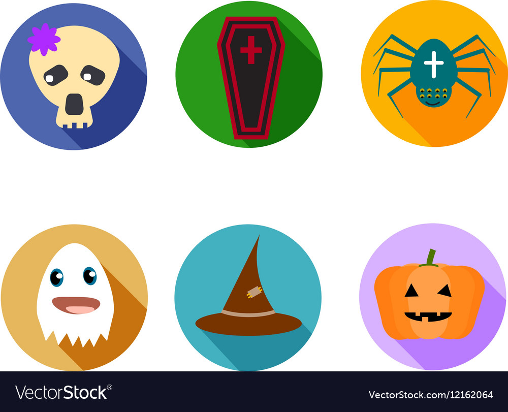 Funny and cute kit of six halloween icons vector
