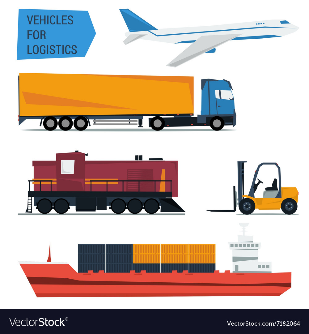 Icons set freight transportation logistics vector