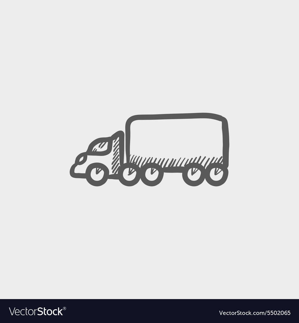 Cargo truck sketch icon vector