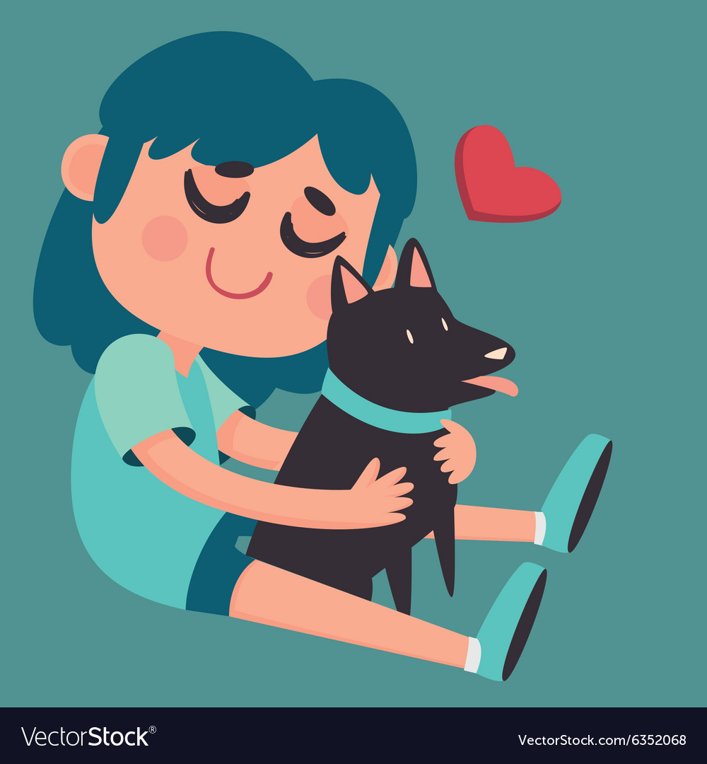 Cute girl hugging her dog vector