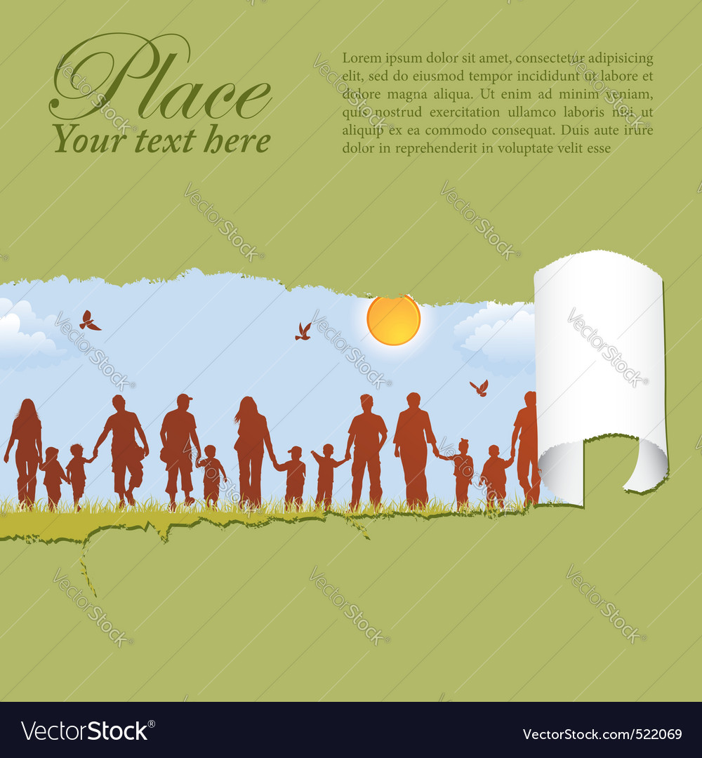 Family silhouettes through a hole in a paper vector