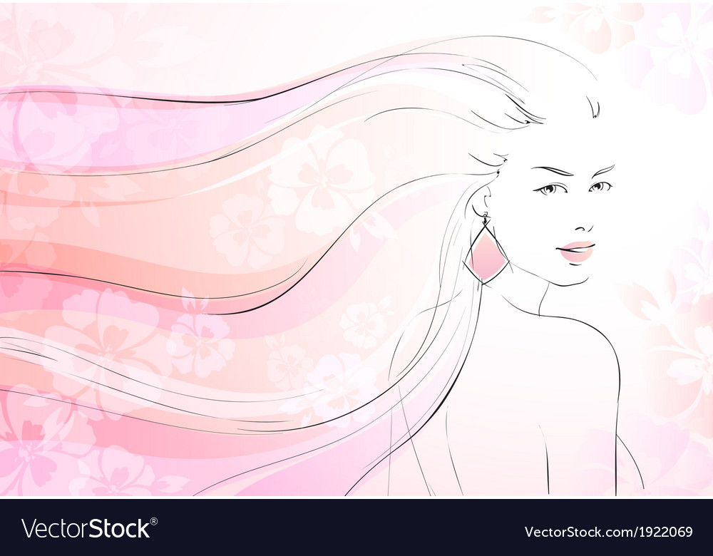 Soft bloom background with young girl vector