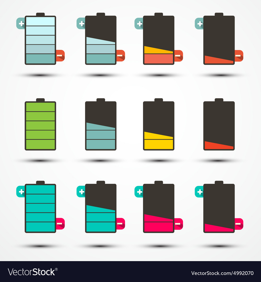 Battery life icons set set vector