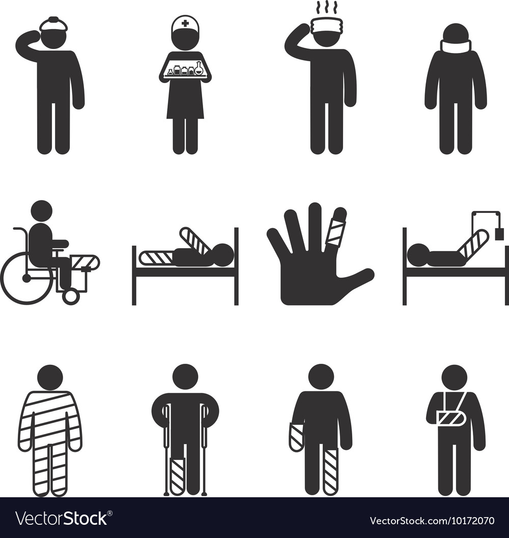 Injury icons trauma and sickness vector