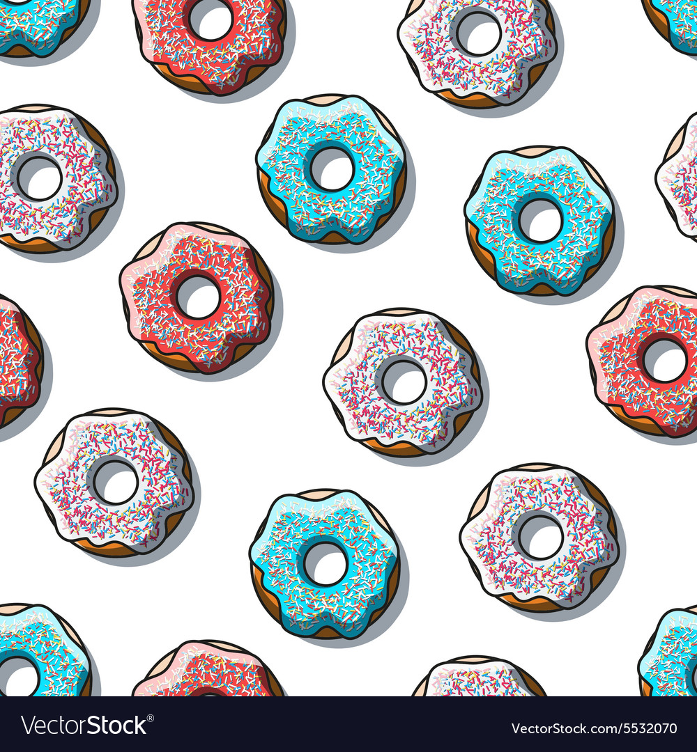 Seamless pattern of detailed donuts on white vector