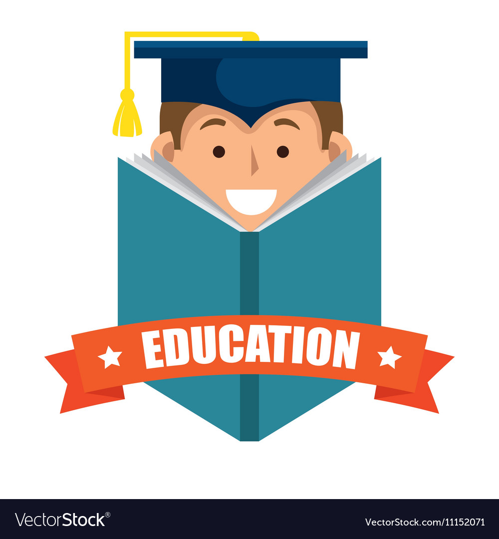 Boy student graduation distance elearning graphic vector