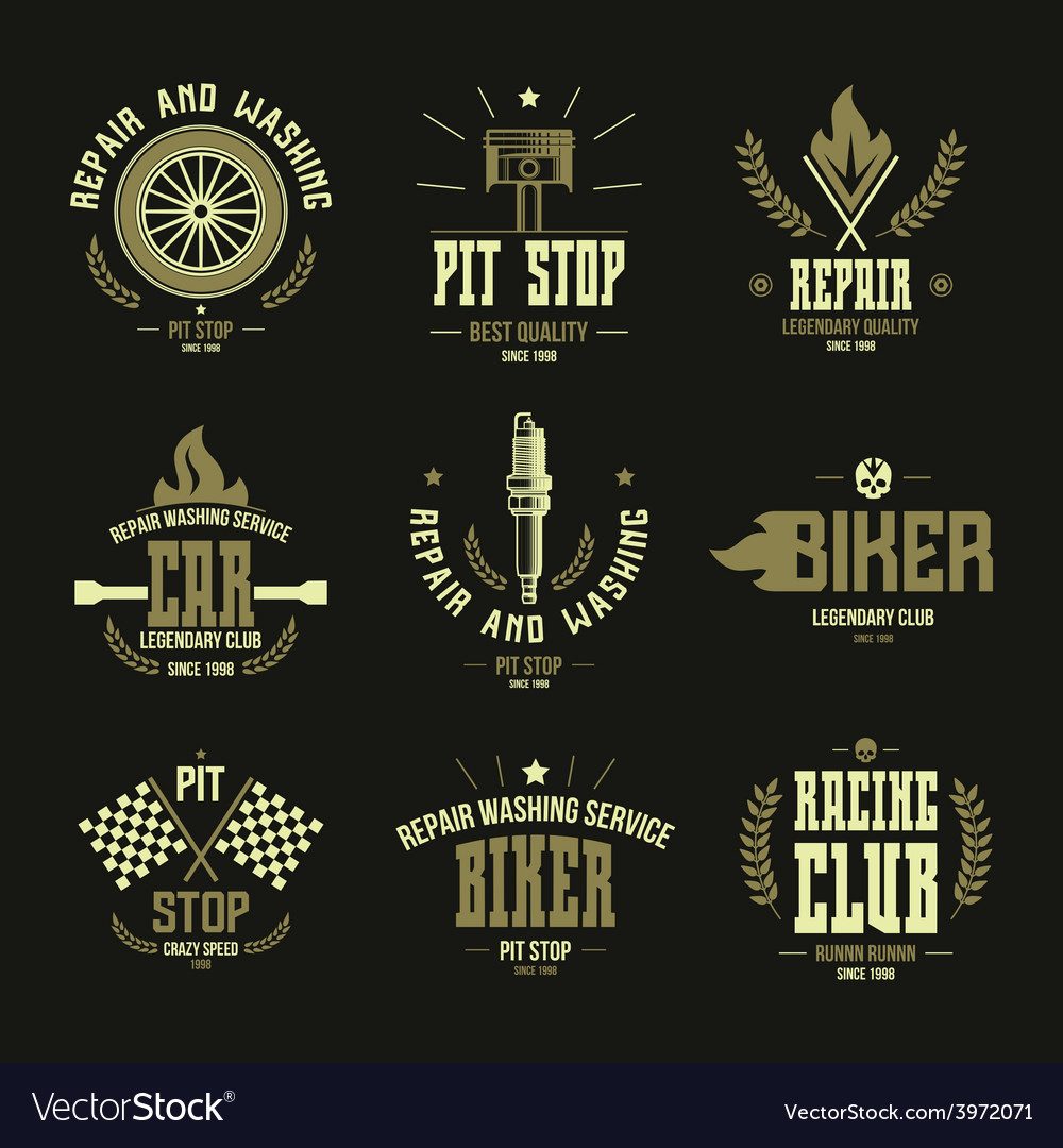 Car races and service badges and logo vector