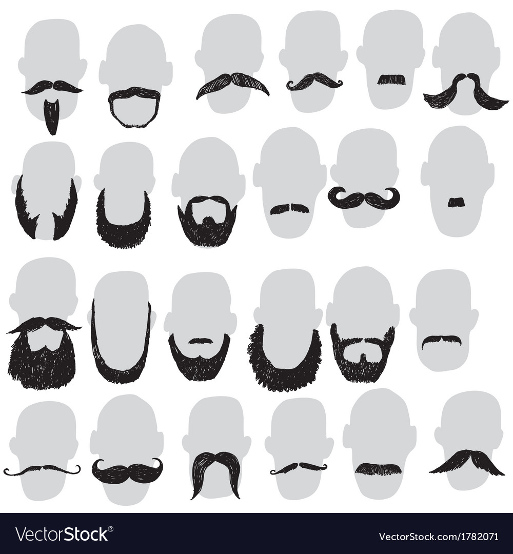 Moustache and beard vector